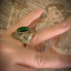 Vintage Jewelry - Vintage Royalty Jewels Emerald Ruby Silver Ring